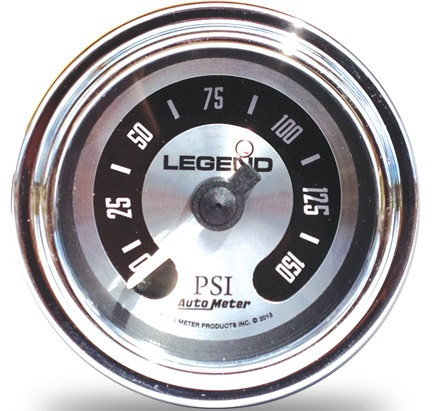 Legend Fairing Mounted LED Backlit PSI Gauge- Spun Aluminum